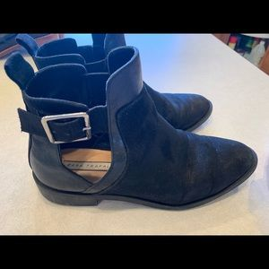 Zara translucency black ankle suede boots 6